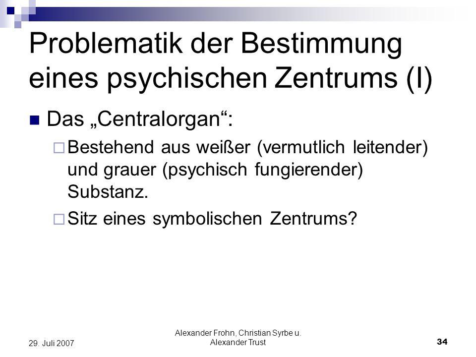 Problematik der Bestimmung eines psychischen Zentrums (I)