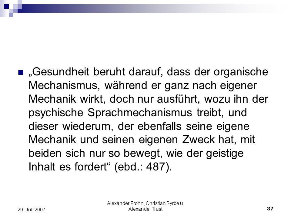 Alexander Frohn, Christian Syrbe u. Alexander Trust
