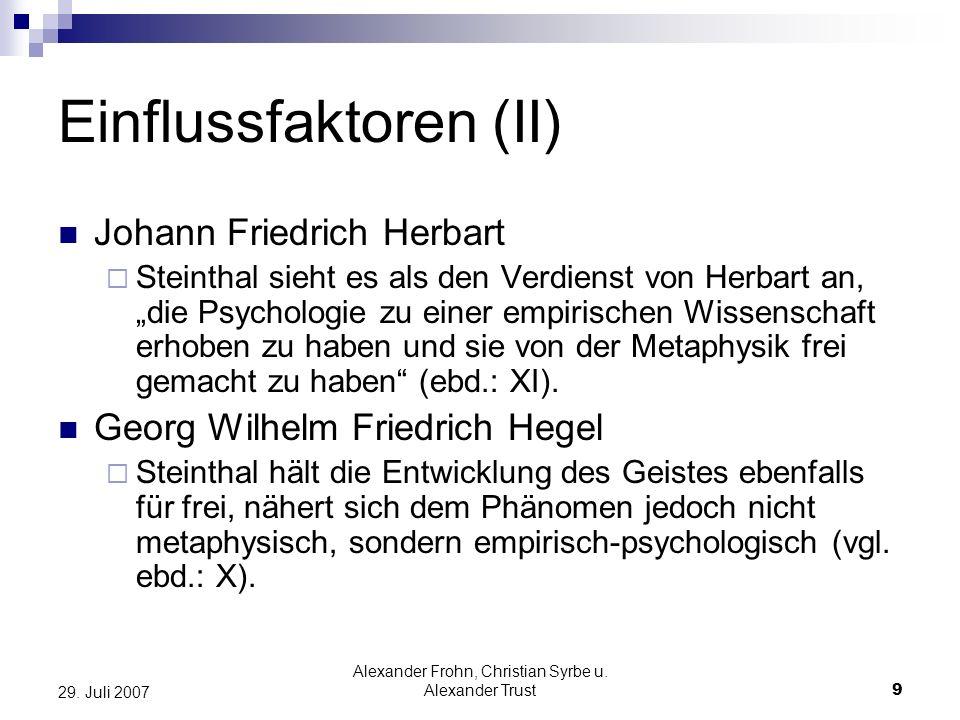Einflussfaktoren (II)