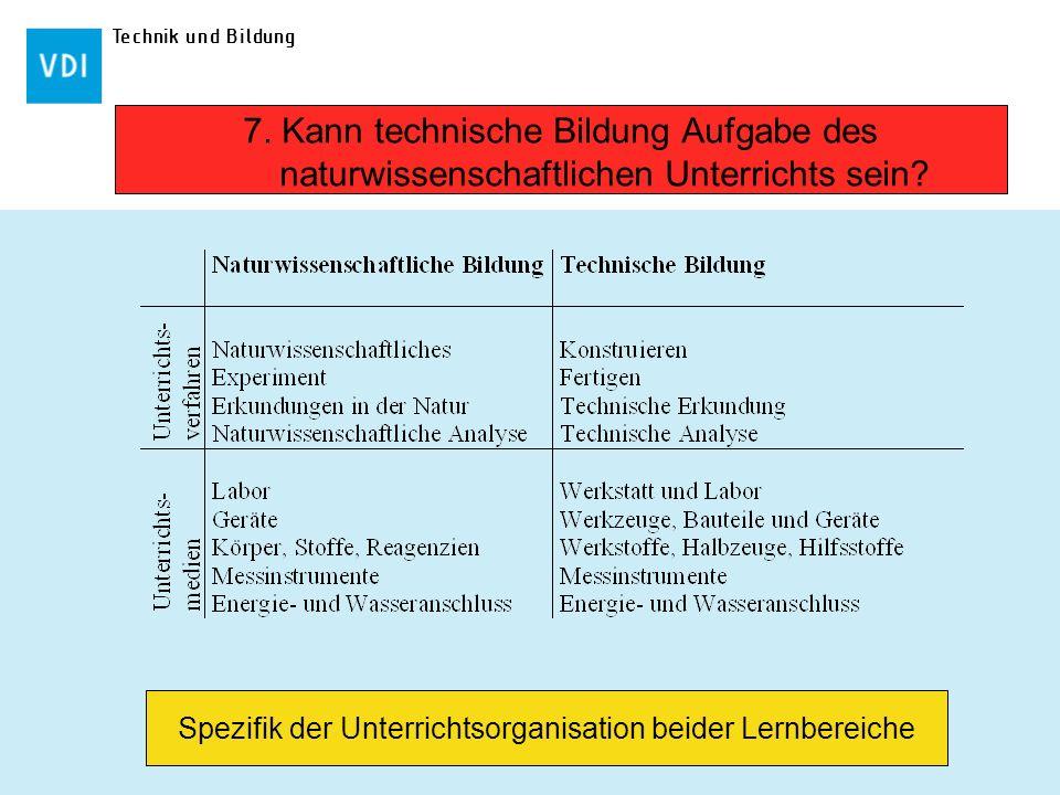 Spezifik der Unterrichtsorganisation beider Lernbereiche