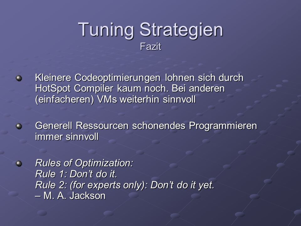 Tuning Strategien Fazit