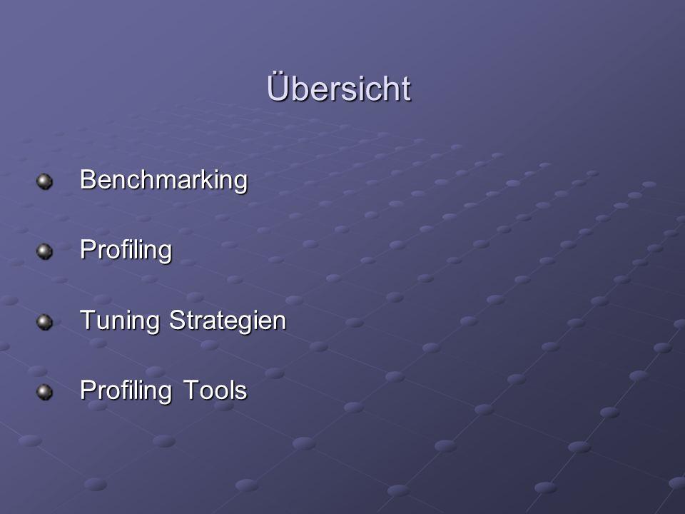 Übersicht Benchmarking Profiling Tuning Strategien Profiling Tools