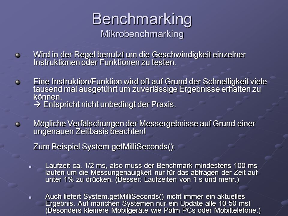 Benchmarking Mikrobenchmarking