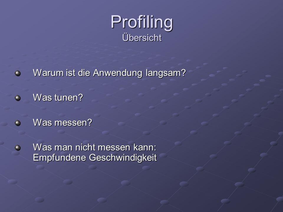 Profiling Übersicht Warum ist die Anwendung langsam Was tunen