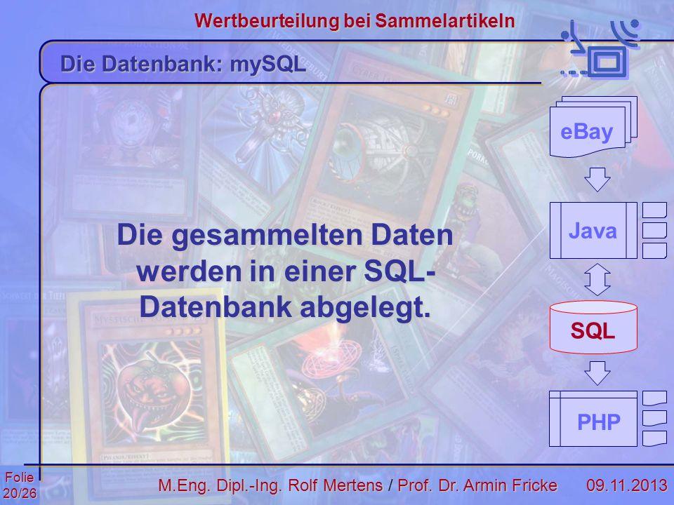 Die gesammelten Daten werden in einer SQL-Datenbank abgelegt.