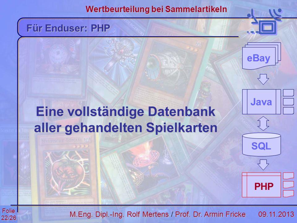 Eine vollständige Datenbank aller gehandelten Spielkarten