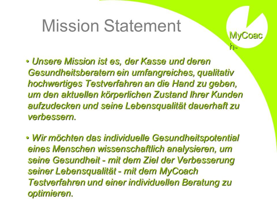 Mission Statement MyCoach