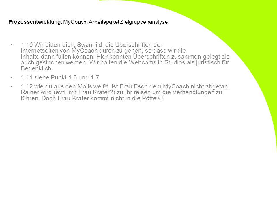 Prozessentwicklung: MyCoach: Arbeitspaket Zielgruppenanalyse