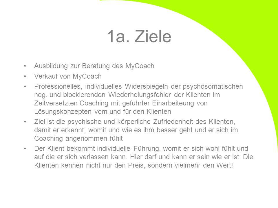 1a. Ziele Ausbildung zur Beratung des MyCoach Verkauf von MyCoach