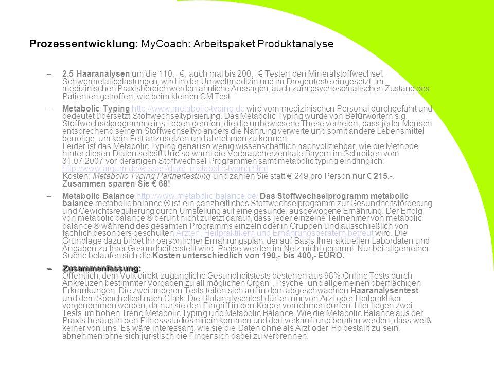Prozessentwicklung: MyCoach: Arbeitspaket Produktanalyse