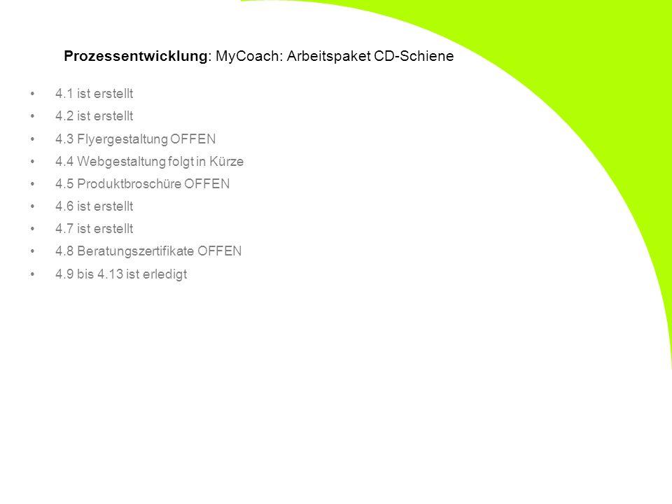 Prozessentwicklung: MyCoach: Arbeitspaket CD-Schiene