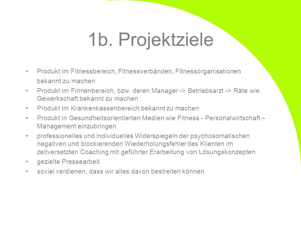 1b. Projektziele Produkt im Fitnessbereich, Fitnessverbänden, Fitnessorganisationen. bekannt zu machen.