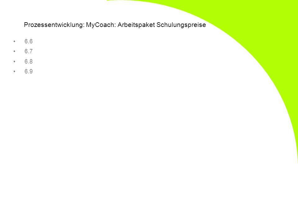Prozessentwicklung: MyCoach: Arbeitspaket Schulungspreise