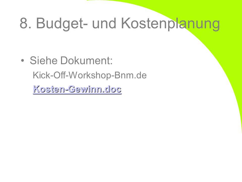 8. Budget- und Kostenplanung