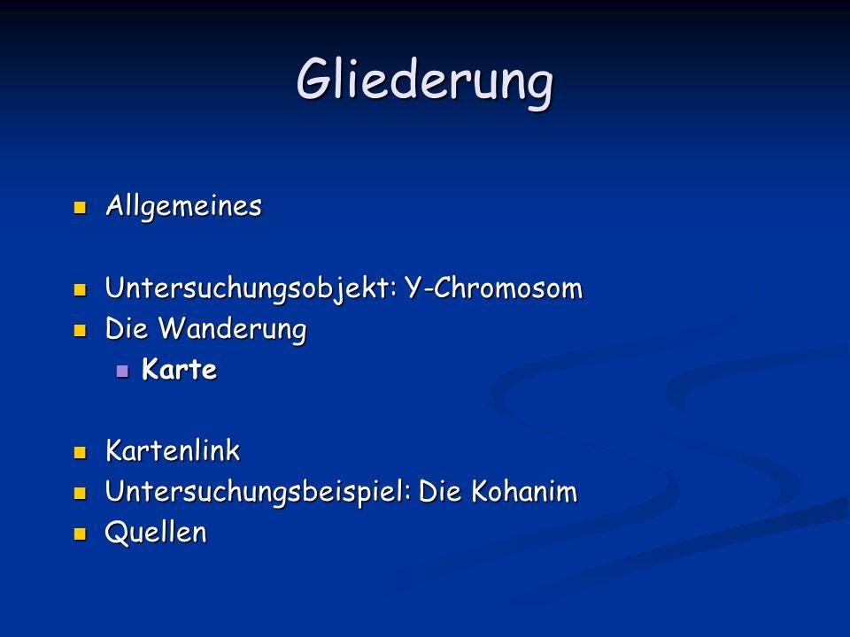 Gliederung Allgemeines Untersuchungsobjekt: Y-Chromosom Die Wanderung