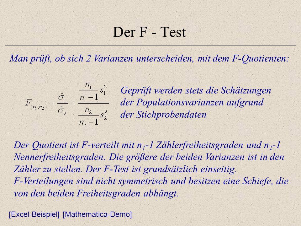 Der F - Test Man prüft, ob sich 2 Varianzen unterscheiden, mit dem F-Quotienten: