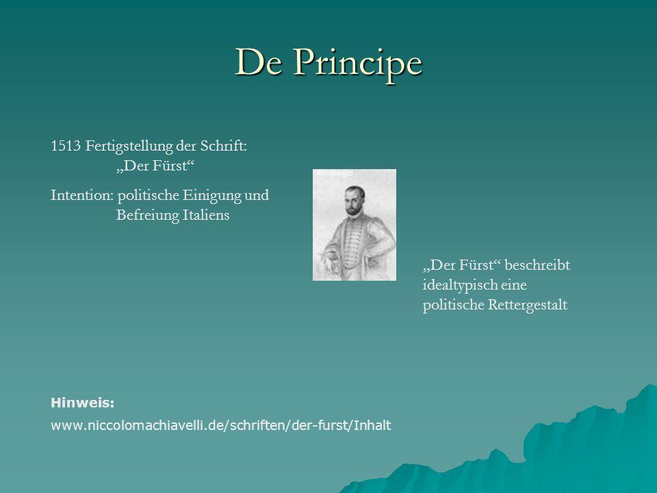 """De Principe 1513 Fertigstellung der Schrift: """"Der Fürst"""