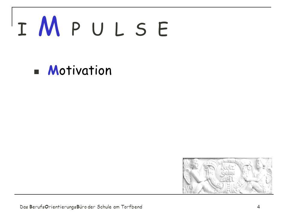 I M P U L S E Motivation. Sensibilisierung für Berufsorientierung.