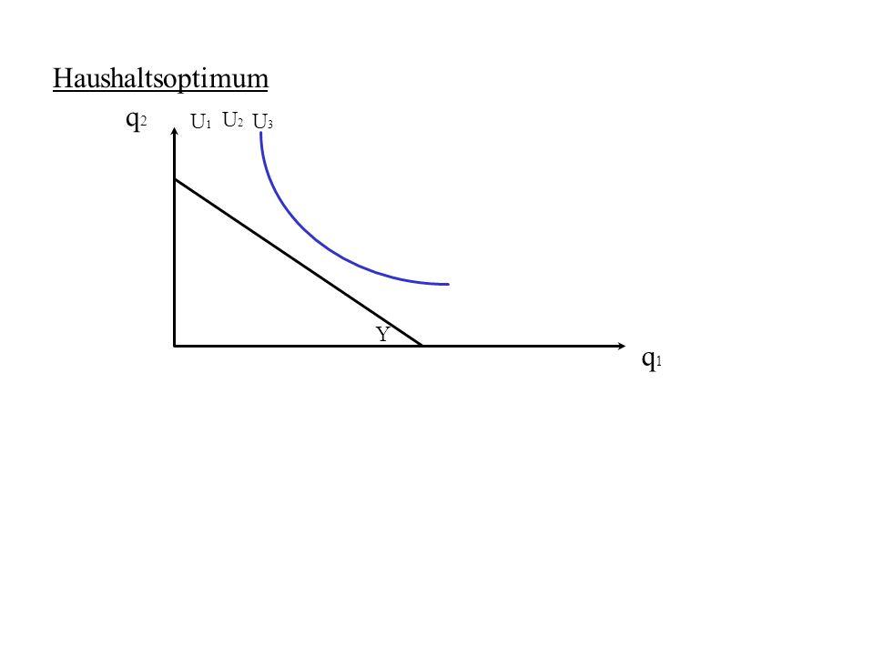 Haushaltsoptimum q2 U1 U2 U3 Y q1
