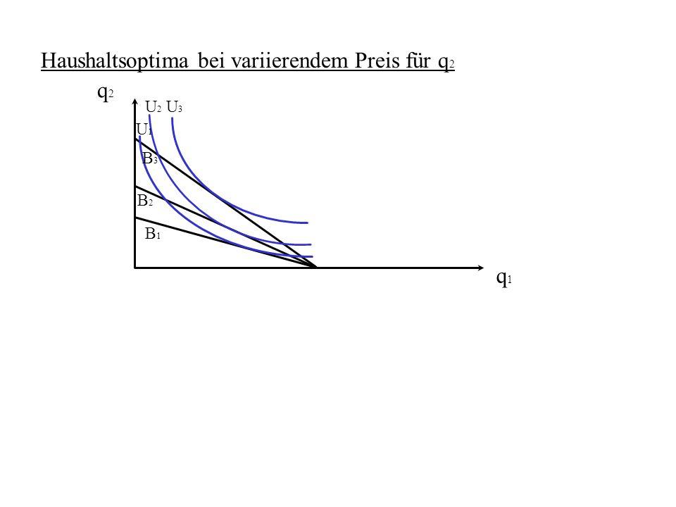 Haushaltsoptima bei variierendem Preis für q2