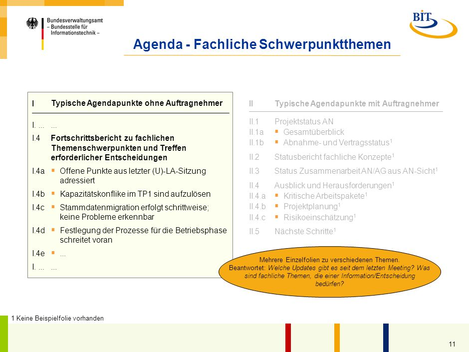Agenda - Fachliche Schwerpunktthemen