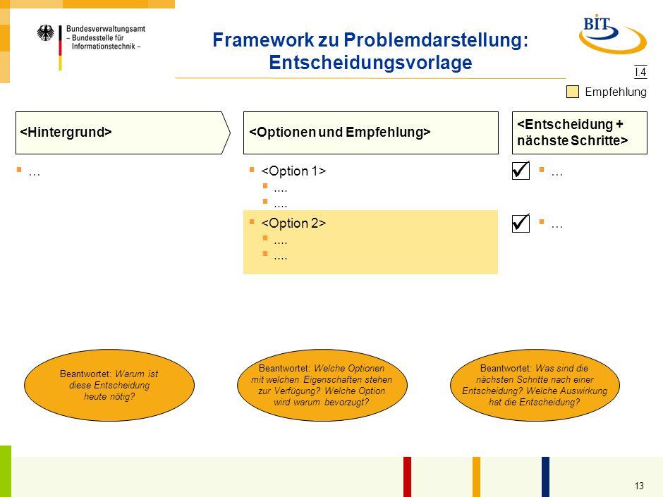 Framework zu Problemdarstellung: Entscheidungsvorlage