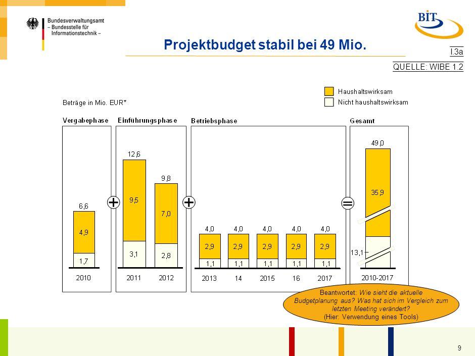 Projektbudget stabil bei 49 Mio.