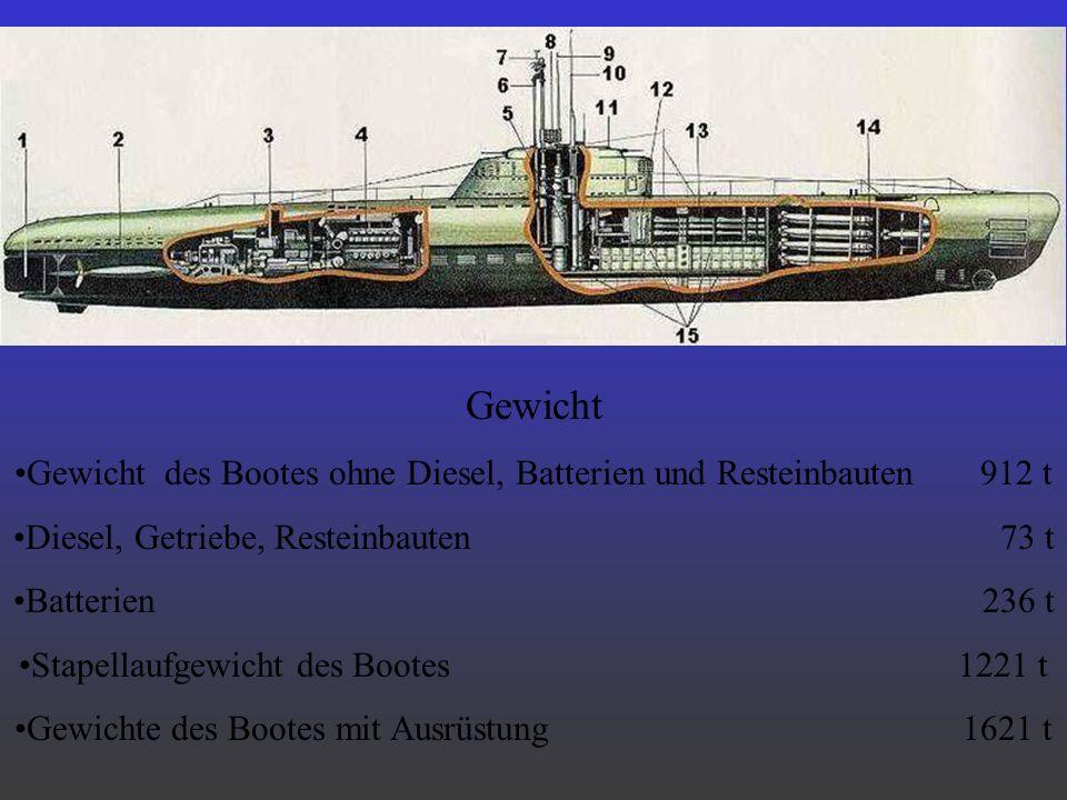 Gewicht Gewicht des Bootes ohne Diesel, Batterien und Resteinbauten 912 t.