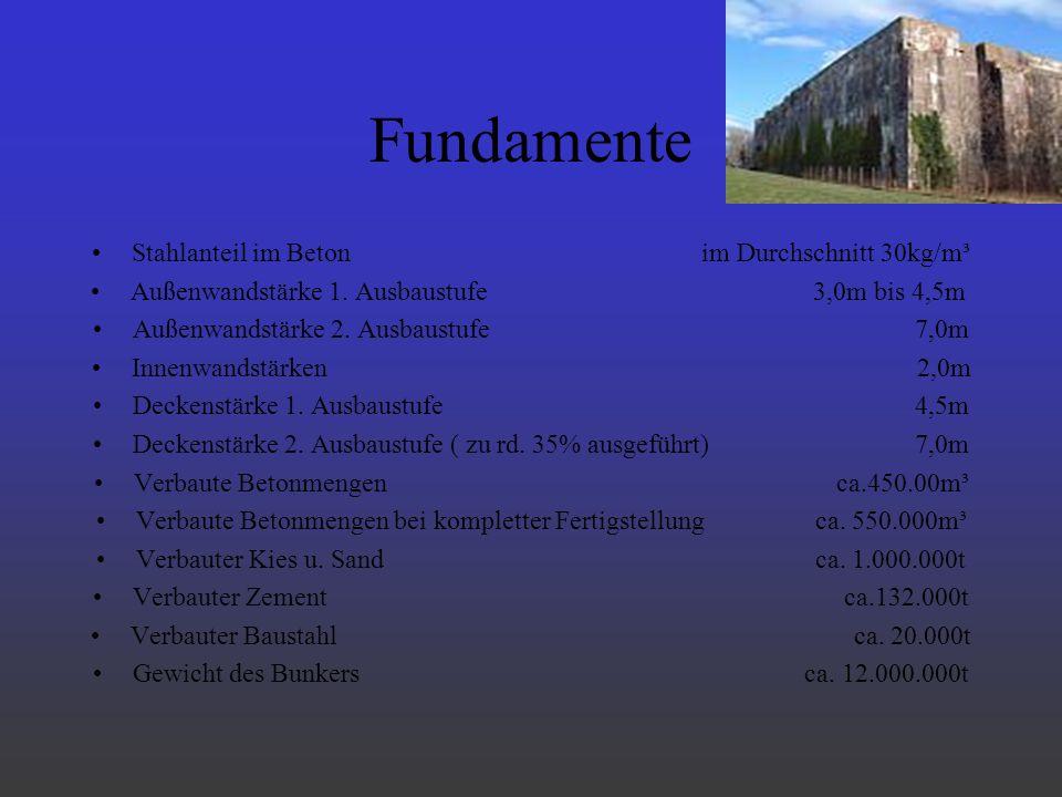 Fundamente Stahlanteil im Beton im Durchschnitt 30kg/m³