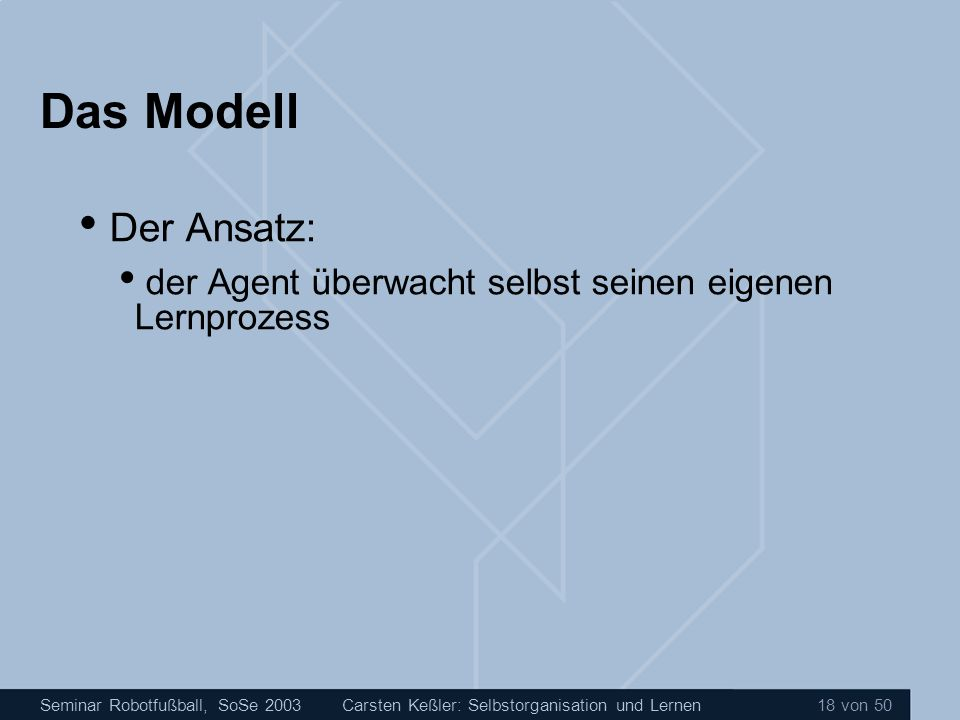 Das Modell Der Ansatz: der Agent überwacht selbst seinen eigenen Lernprozess.