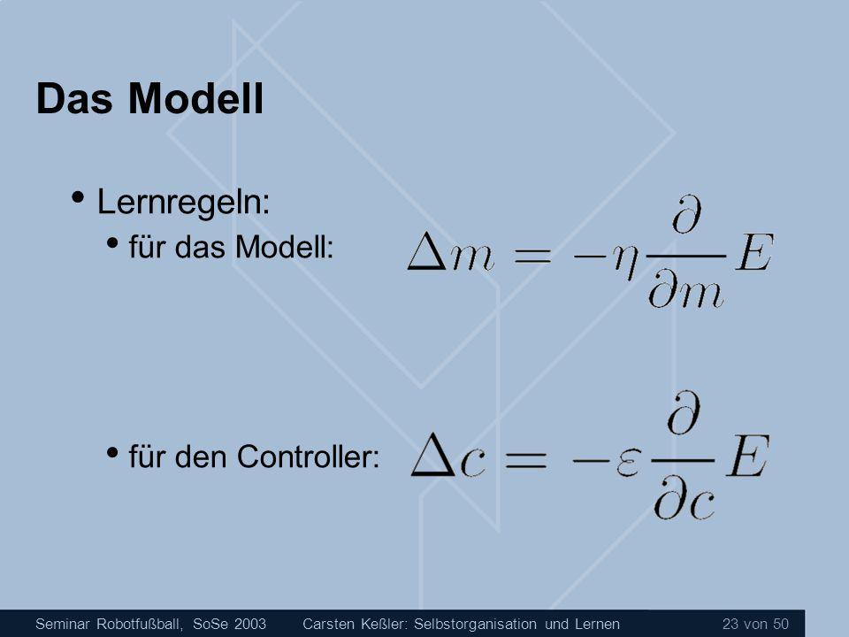 Das Modell Lernregeln: für das Modell: für den Controller: