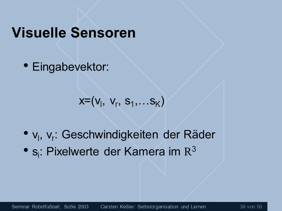Visuelle Sensoren Eingabevektor: x=(vl, vr, s1,…sK)