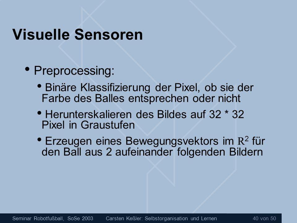 Visuelle Sensoren Preprocessing:
