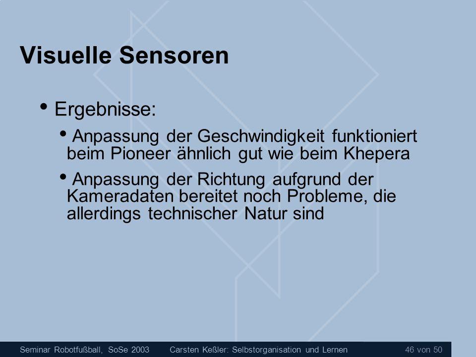 Visuelle Sensoren Ergebnisse:
