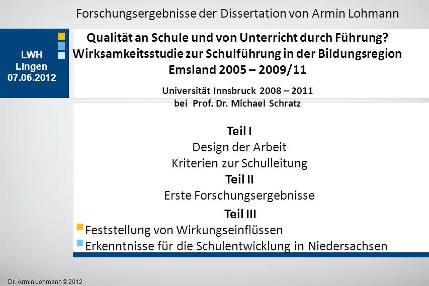 Universität Innsbruck 2008 – 2011 bei Prof. Dr. Michael Schratz