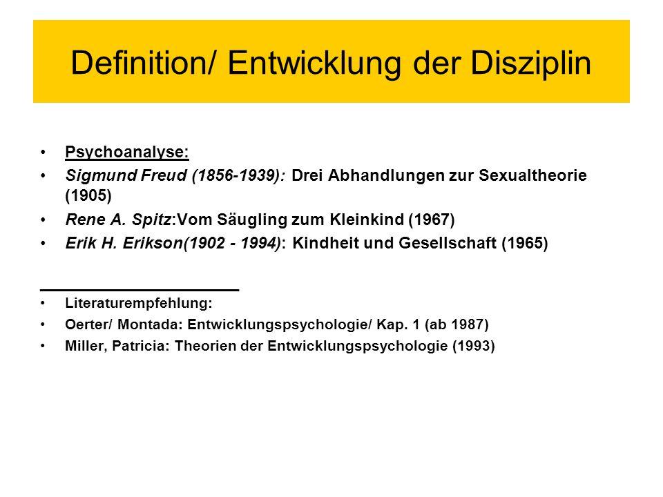 Definition/ Entwicklung der Disziplin
