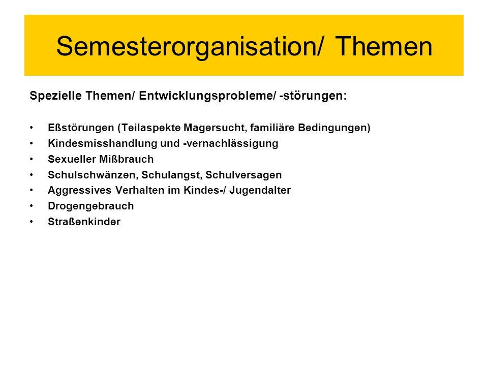 Semesterorganisation/ Themen