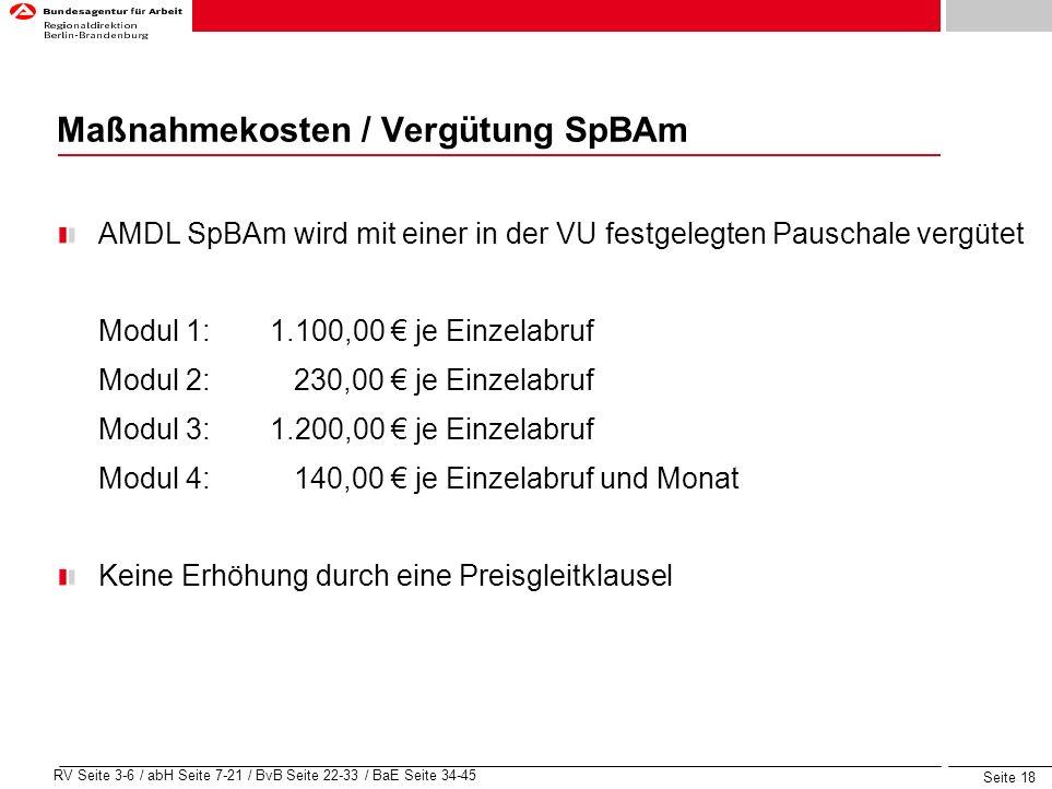 Maßnahmekosten / Vergütung SpBAm