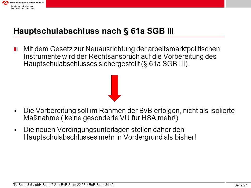Hauptschulabschluss nach § 61a SGB III
