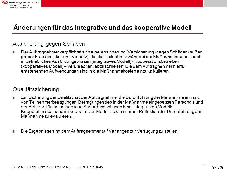 Änderungen für das integrative und das kooperative Modell