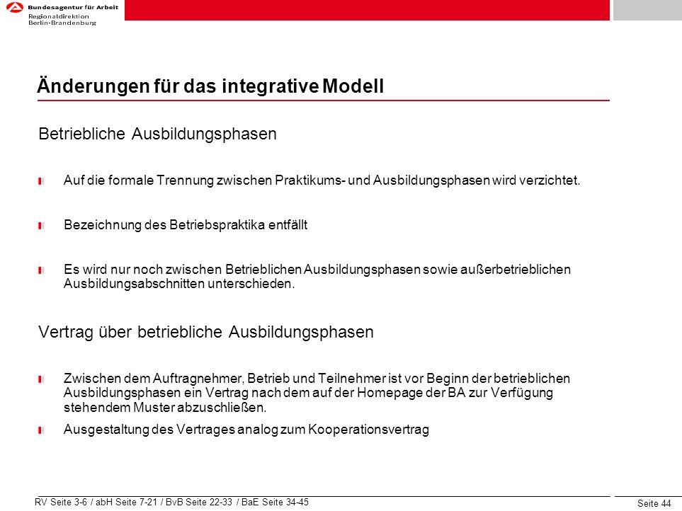 Änderungen für das integrative Modell
