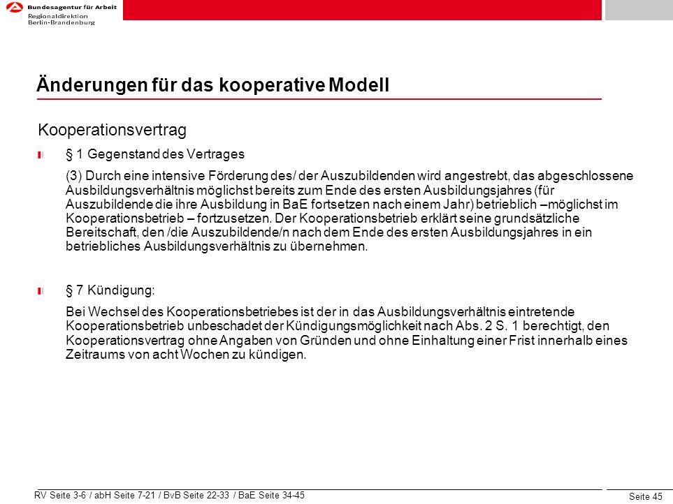 Änderungen für das kooperative Modell