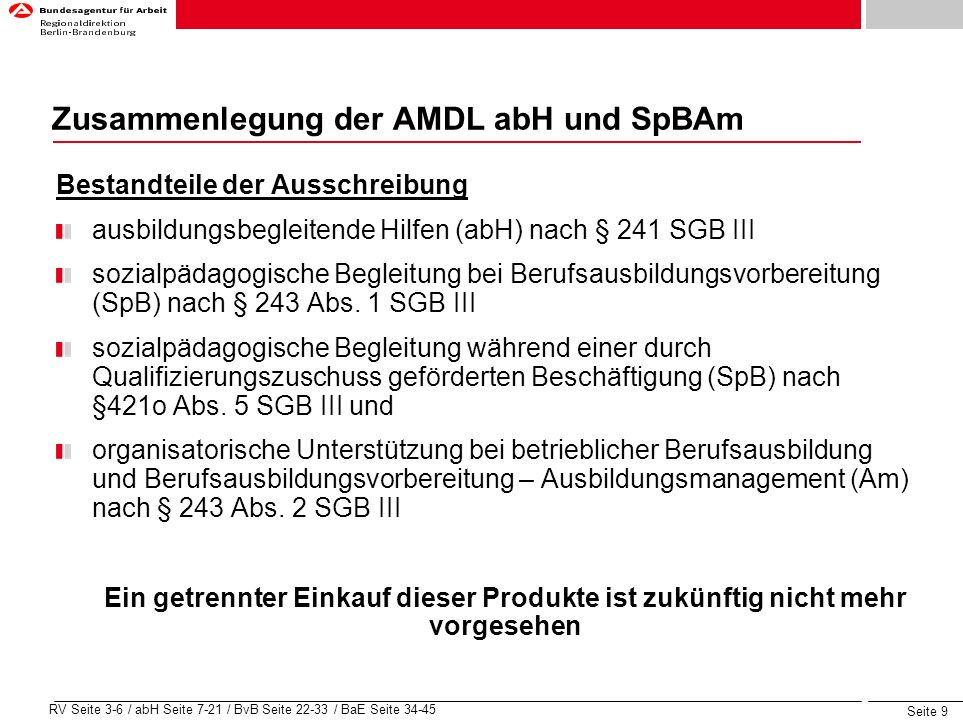 Zusammenlegung der AMDL abH und SpBAm