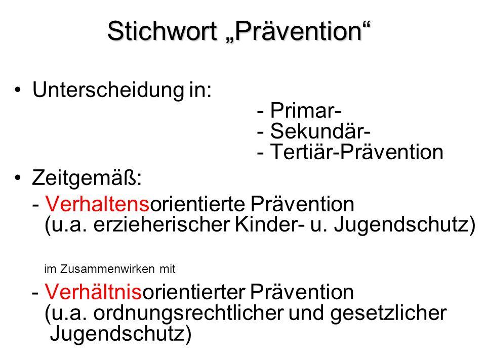 """Stichwort """"Prävention"""