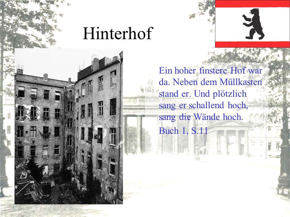Hinterhof Ein hoher finstere Hof war da. Neben dem Müllkasten stand er. Und plötzlich sang er schallend hoch, sang die Wände hoch.