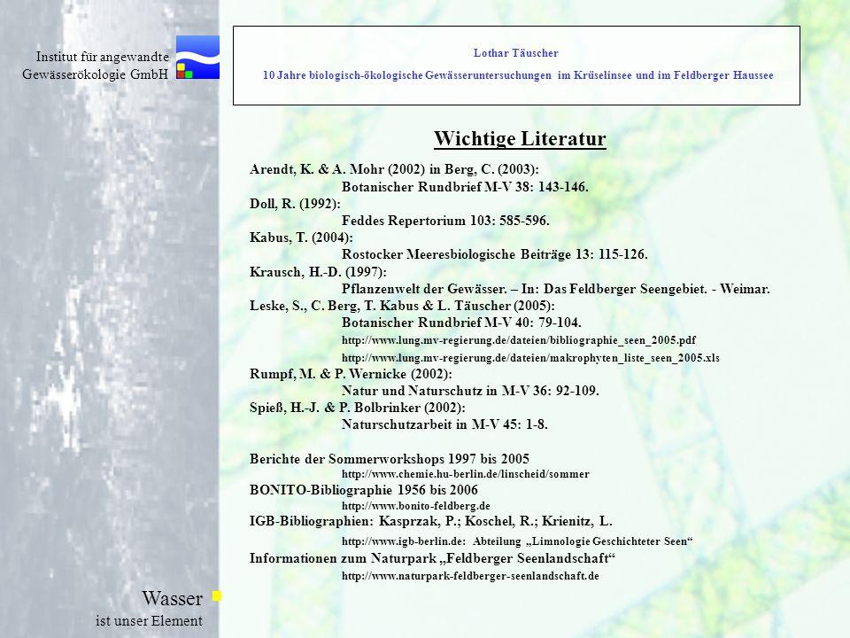 Lothar Täuscher 10 Jahre biologisch-ökologische Gewässeruntersuchungen im Krüselinsee und im Feldberger Haussee