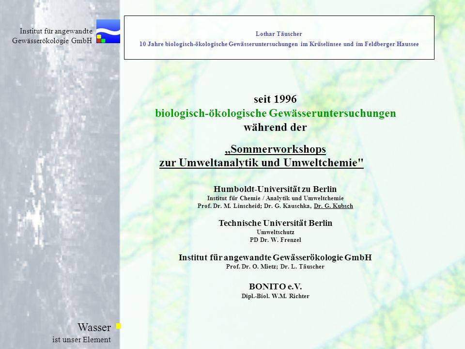 biologisch-ökologische Gewässeruntersuchungen während der