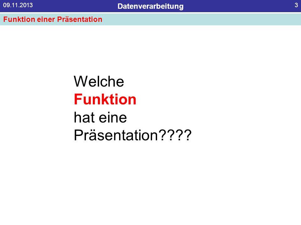 Welche Funktion hat eine Präsentation Funktion einer Präsentation