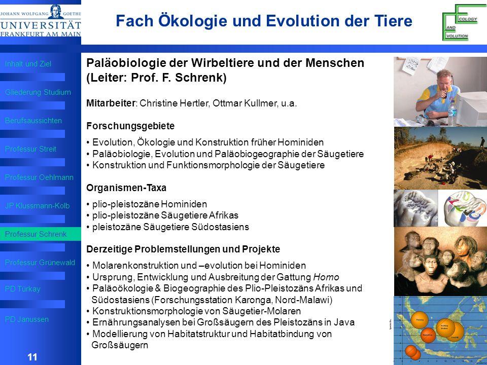 Fach Ökologie und Evolution der Tiere