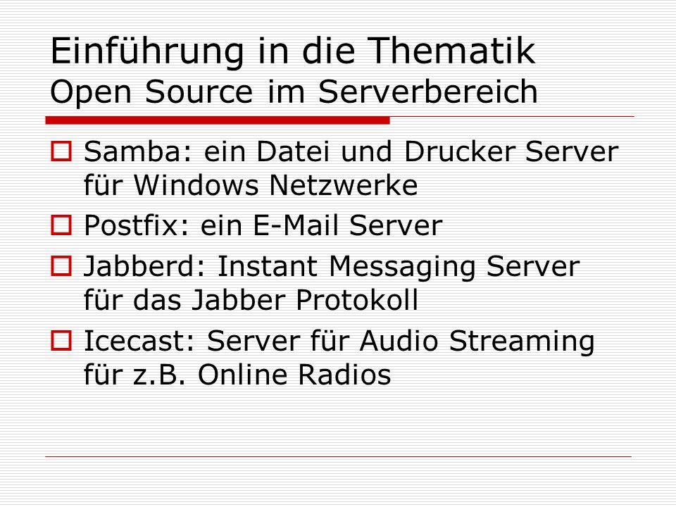 Einführung in die Thematik Open Source im Serverbereich